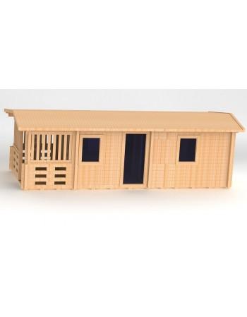 Sauna stačiakampės formos, gaminame iš medinių lentų